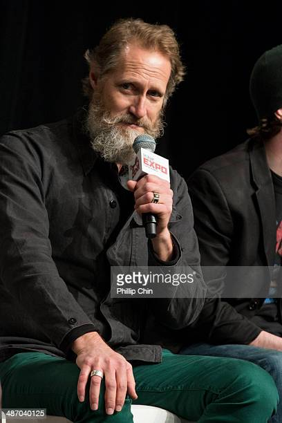 Actor Christopher Heyerdahl participates in the 'Hell on Wheels' panel discussion at the Expo Pavillion during the Calgary Expo/ Comic and...