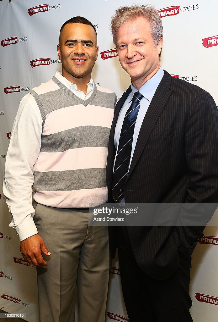 Actor Christopher Jackson and C.J. Wilson attend the 'Bronx Bombers' opening night after Party at West Bank Cafe on October 8, 2013 in New York City.
