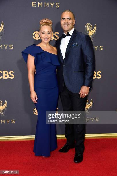 Actor Christopher Jackson and singer Veronica attend the 69th Annual Primetime Emmy Awards at Microsoft Theater on September 17 2017 in Los Angeles...
