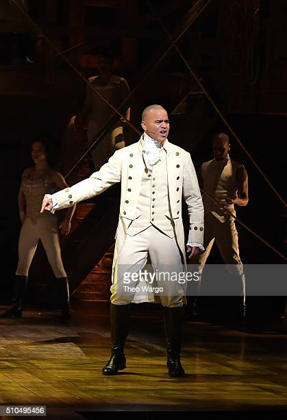 Actor Christopher Jackson performs on stage during 'Hamilton' GRAMMY performance for The 58th GRAMMY Awards at Richard Rodgers Theater on February 15...