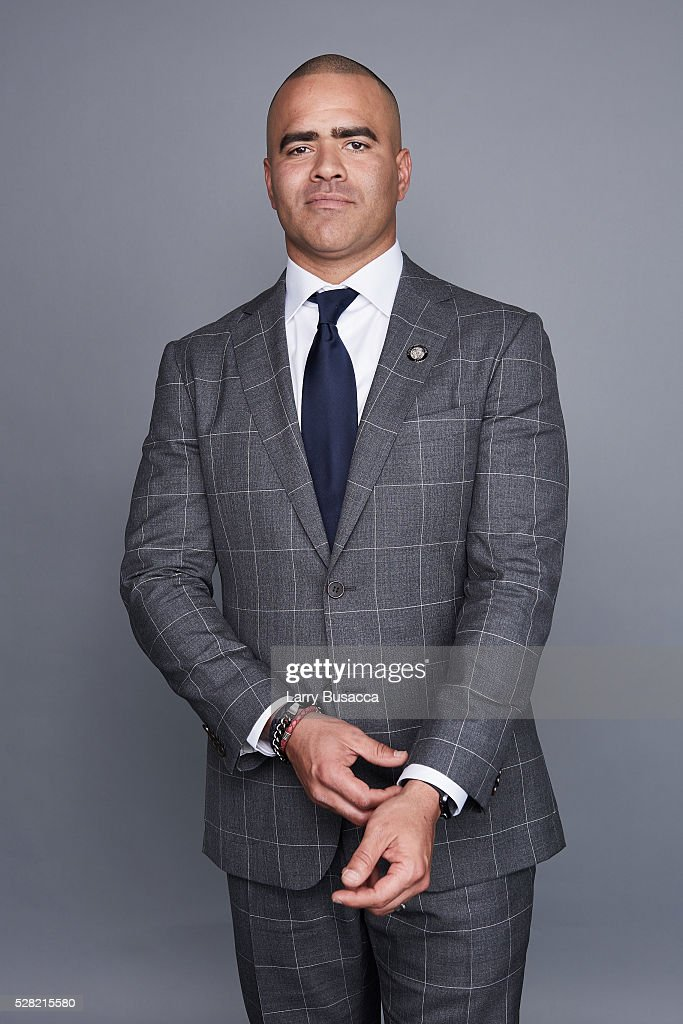 Actor Christopher Jackson poses for a portrait at the 2016 Tony Awards Meet The Nominees Press Reception on May 4, 2016 in New York City.