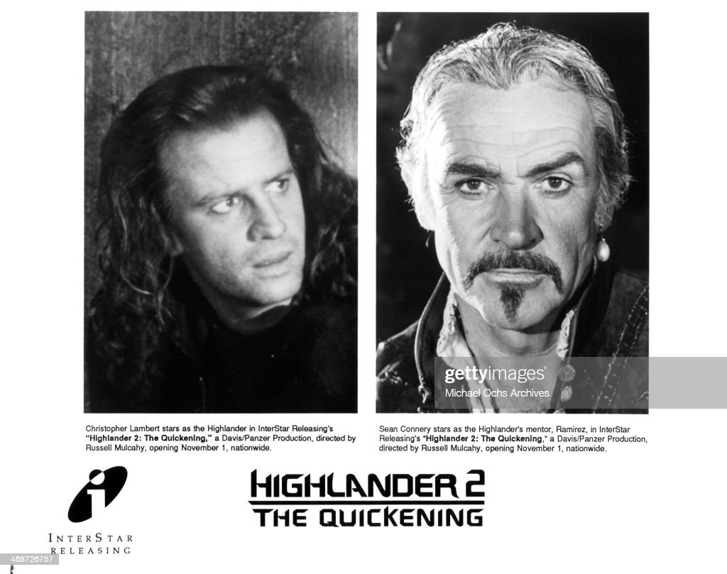 Actor Christopher Lambert actor Sean Connery pose on the set of the movie 'Highlander II The Quickening' circa 1991