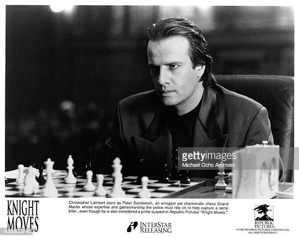 Actor Christopher Lambert on set of the movie 'Knight Moves' circa 1992