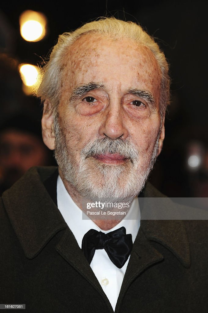 Actor <a gi-track='captionPersonalityLinkClicked' href=/galleries/search?phrase=Christopher+Lee+-+Ator&family=editorial&specificpeople=213479 ng-click='$event.stopPropagation()'>Christopher Lee</a> attends the 'Night Train to Lisbon' Premiere during the 63rd Berlinale International Film Festival at the Berlinale Palast on February 13, 2013 in Berlin, Germany.