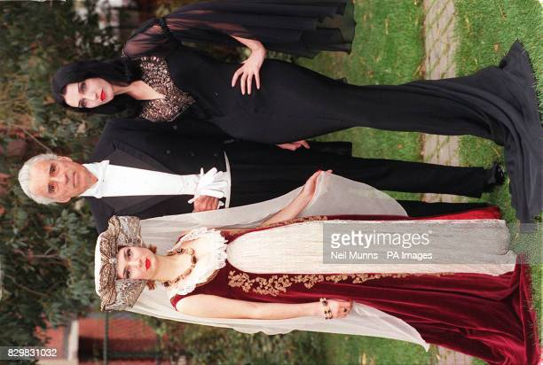 Actor Christopher Lee best known for his portrayal of Dracula in the Hammer Horror films with two 'ghoulish' ladies Tina and Mercy in London today...