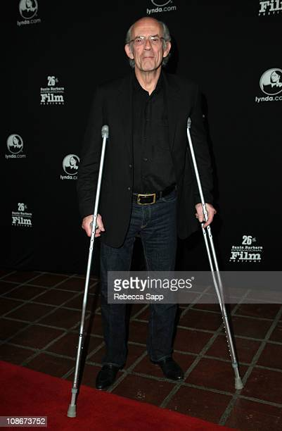 Actor Christopher Lloyd arrives on the red carpet before the Montecito Award Tribute to Geoffrey Rush at the Arlington Theater on January 31 2011 in...