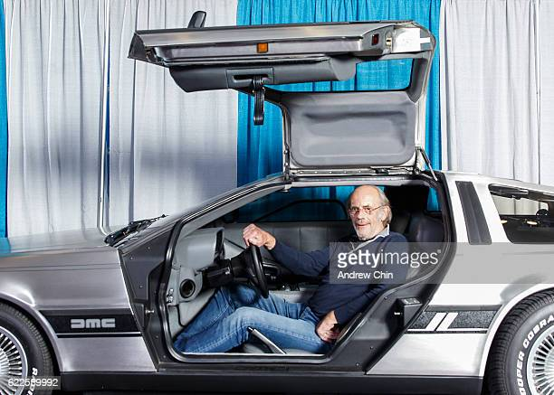 Actor Christopher Lloyd poses on DeLorean DMC12 during 'Fan Expo Vancouver 2016' at Vancouver Convention Centre on November 11 2016 in Vancouver...