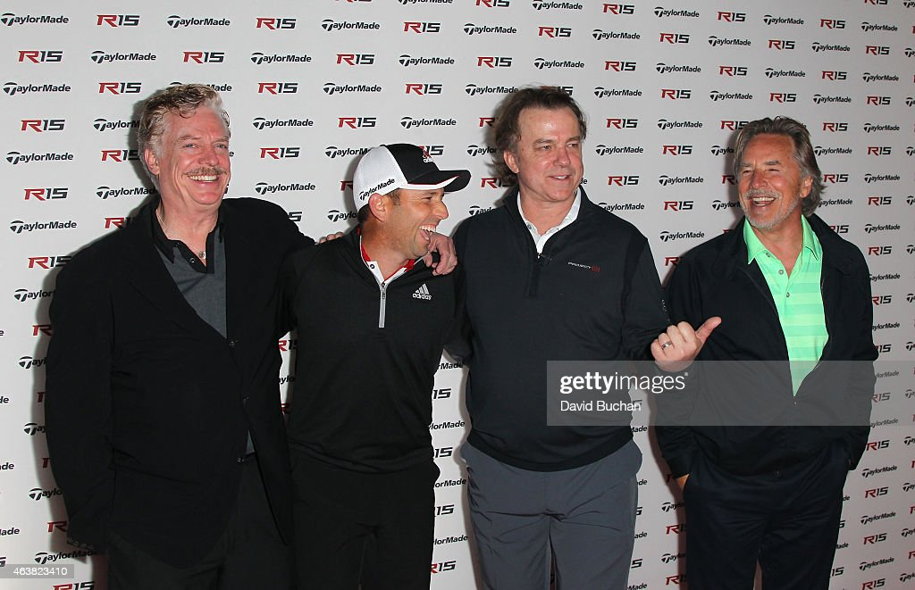 Actor Christopher McDonald Pro golfer Sergio Garcia Michael O'Keefe and Don Johnson attend the Northern Trust Open TaylorMade Golf first ever drivein...
