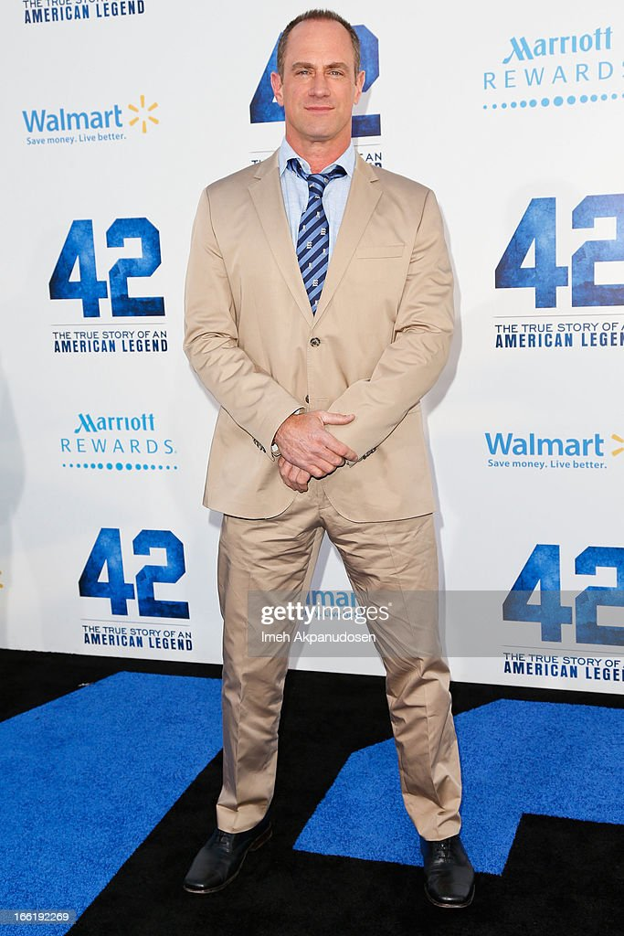 Actor <a gi-track='captionPersonalityLinkClicked' href=/galleries/search?phrase=Christopher+Meloni&family=editorial&specificpeople=220830 ng-click='$event.stopPropagation()'>Christopher Meloni</a> attends the premiere of Warner Bros. Pictures' And Legendary Pictures' '42' at TCL Chinese Theatre on April 9, 2013 in Hollywood, California.