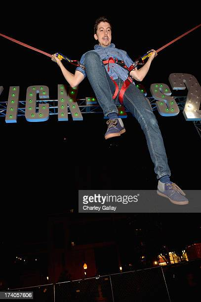 Actor Christopher MintzPlasse attends the Playboy and Universal Pictures' 'KickAss 2' event at ComicCon sponsored by AXE Black Chill on July 19 2013...