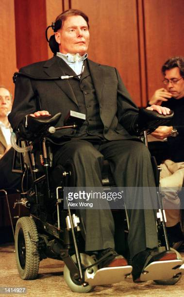 Actor Christopher Reeve prior to a hearing on stem cell research on Capitol Hill April 26 2000 in Washington DC Reeve who was paralyzed in a 1995...