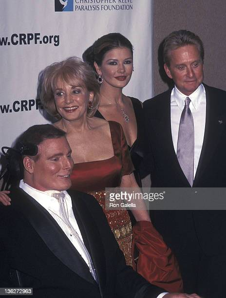 Actor Christopher Reeve TV journalist Barbara Walters actor Michael Douglas and actress Catherine ZetaJones attend Christopher Reeve's 50th Birthday...