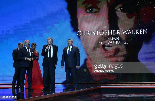 US actor Christopher Walken makes a speech after receiving an honor award from Turkish Deputy Culture and Tourism Minister Huseyin Yayman and Antalya...