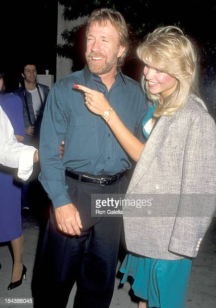 Actor Chuck Norris and date Monica Hall on May 26 1990 arrive at Bar One Nightclub in Hollywood California