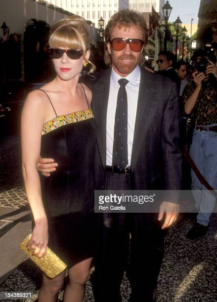 Actor Chuck Norris and date Stephanie Fowler attend the International Jewish Sports Hall of Fame Induction Ceremony Honoring Joe Weider and Ben...