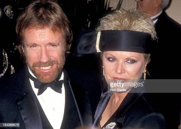 CA JANUARY 31 Actor Chuck Norris and wife Diane Holechek attend the 44th Annual Golden Globe Awards on January 31 1987 at Beverly Hilton Hotel in...