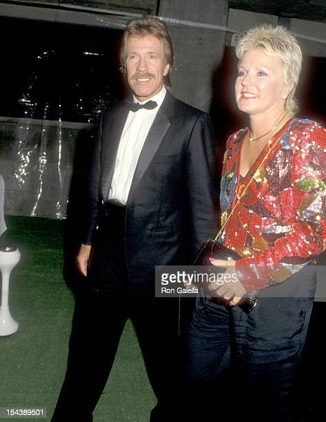 Actor Chuck Norris and wife Diane Holechek attend 'The Naked Cage' Hollywood Premiere on February 22 1986 at Cannon Films Headquarters in Hollywood...