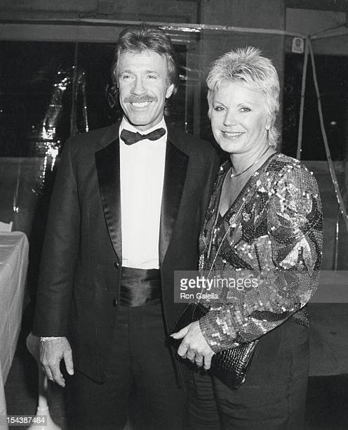 Actor Chuck Norris and wife Diane Holechek attend the party for Sixth Annual American Film Market on February 22 1986 at the Century Plaza Hotel in...