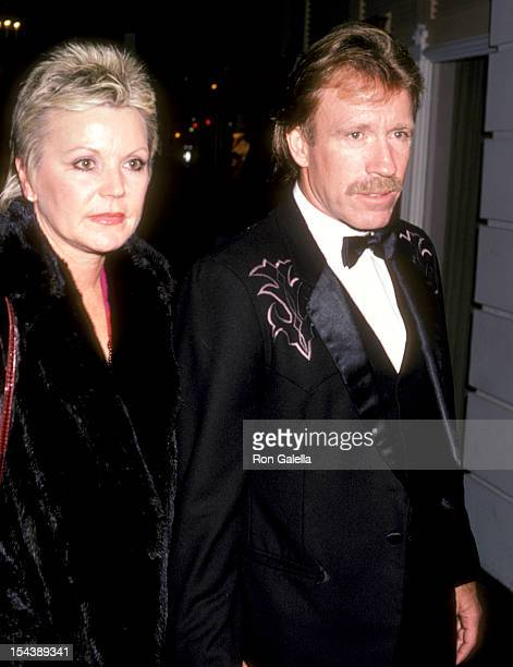 Actor Chuck Norris and wife Diane Holechek attend the 'Runaway Train' Beverly Hills Premiere Party on December 5 1985 at Beverly Hills Hotel in...