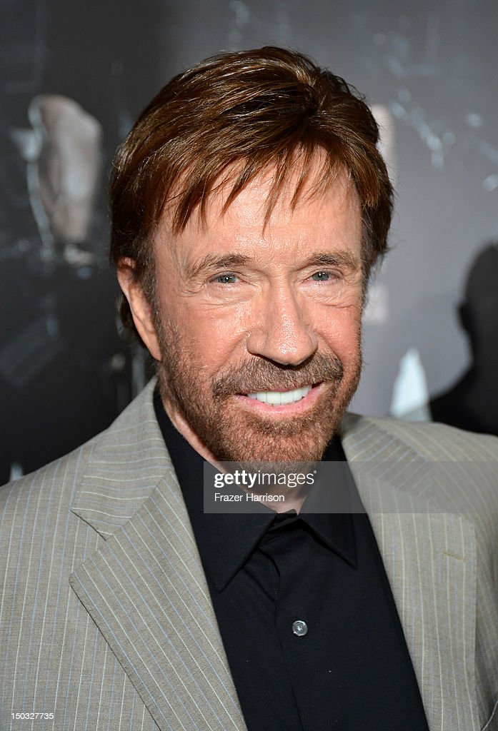 Actor Chuck Norris arrives at Lionsgate Films' 'The Expendables 2' premiere on August 15, 2012 in Hollywood, California.
