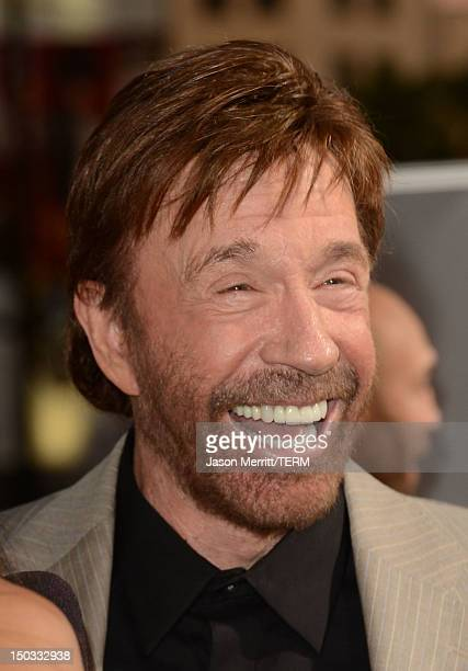 Actor Chuck Norris arrives at Lionsgate Films' 'The Expendables 2' premiere on August 15 2012 in Hollywood California