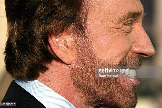 Actor Chuck Norris arrives at the Academy of Television Arts and Sciences Hall of Fame Induction Ceremony on June 26 2004 in North Hollywood...