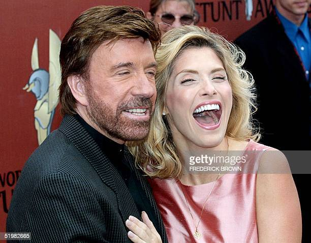 Actor Chuck Norris who stars in the television show 'Walker Texas Ranger' and his wife arrive at the First International World Stunt Awards 20 May...