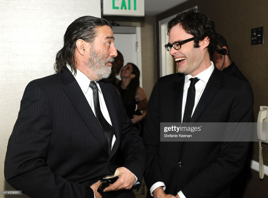 Actor Ciaran Hinds (L) and actor Bill Hader attend the 16th Costume Designers Guild Awards with presenting sponsor Lacoste at The Beverly Hilton Hotel on February 22, 2014 in Beverly Hills, California.