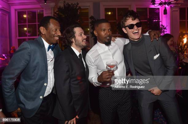 Actor CJ Jones director Edgar Wright actor Jamie Foxx and actor Ansel Elgort attend the after party for the premiere of Sony Pictures' 'Baby Driver'...
