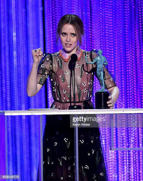 Actor Claire Foy accepts Outstanding Performance by a Female Actor in a Drama Series for 'The Crown' onstage during The 23rd Annual Screen Actors...