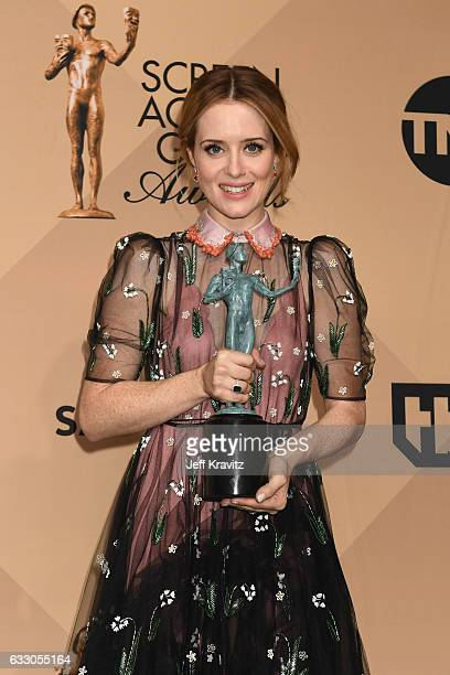 Actor Claire Foy winner of the Outstanding Performance by a Female Actor in a Drama Series for 'The Crown' poses in the press room during the 23rd...