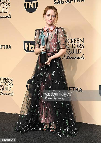 Actor Claire Foy winner of the Outstanding Performance by a Female Actor in a Drama Series award for 'The Crown' poses in the press room during The...