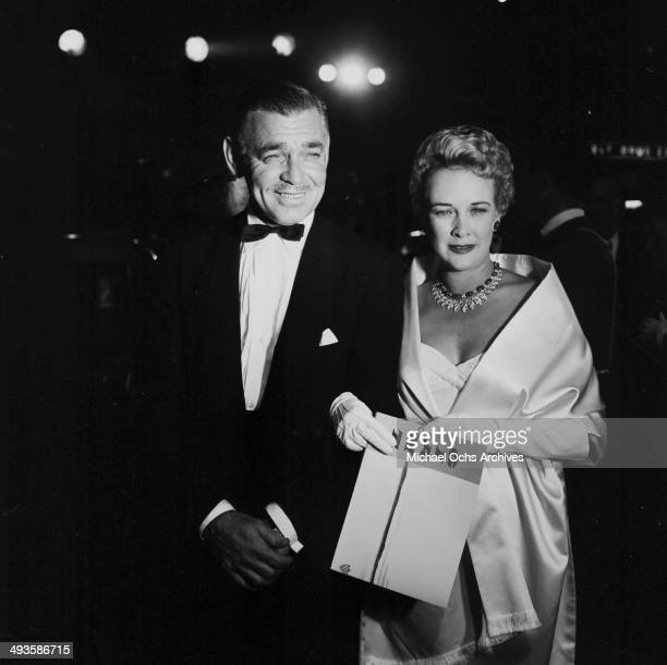 LOS ANGELES OCTOBER 171956 Actor Clark Gable and wife Kay Spreckels at the premier of 'Giant' in Los Angeles California