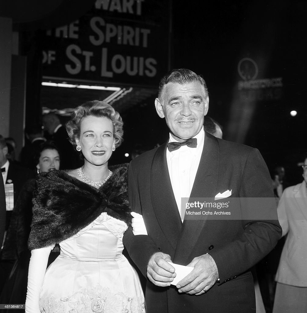LOS ANGELES - APRIL 11,1957. Actor Clark Gable and wife Kay Spreckels at the premier of ' The Spirit of St. Louis' in Los Angeles, California.