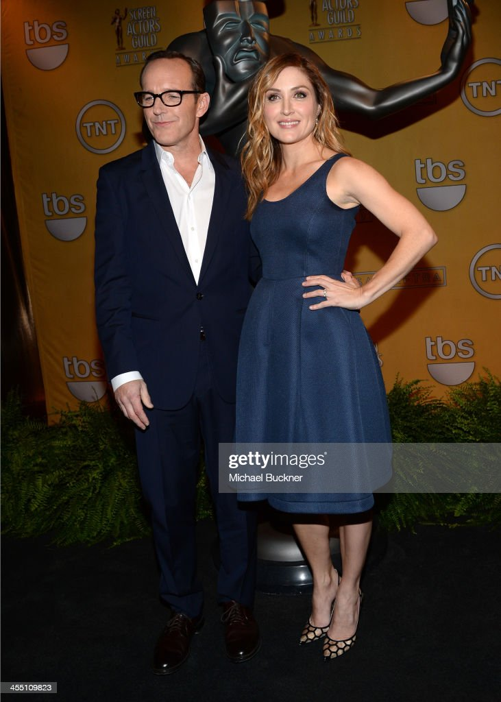 Actor Clark Gregg and SAG Awards Social Media Ambassador Sasha Alexander attend the 20th Annual Screen Actors Guild Awards Nominations Announcement at Pacific Design Center on December 11, 2013 in West Hollywood, California. 24092_002_2852.JPG
