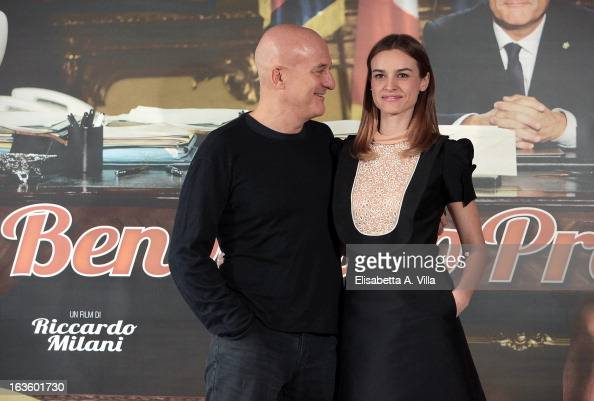 Actor Claudio Bisio and actress Kasia Smutniak attend 'Benvenuto Presidente' photocall at Cinema Adriano on March 13 2013 in Rome Italy
