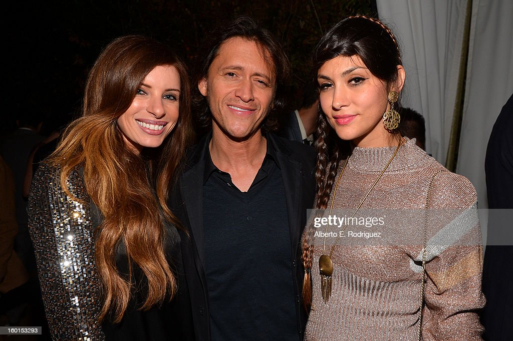 Actor Clifton Collins Jr. (C) Diana Garcia (R) and guest attend the Entertainment Weekly Pre-SAG Party hosted by Essie and Audi held at Chateau Marmont on January 26, 2013 in Los Angeles, California.