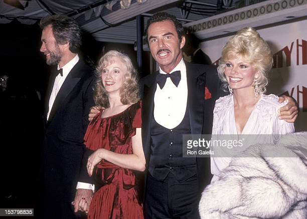 Actor Clint Eastwood actress Sondra Locke actor Burt Reynolds and actress Loni Anderson attend the 'City Heat' Hollywood Premiere on December 5 1984...