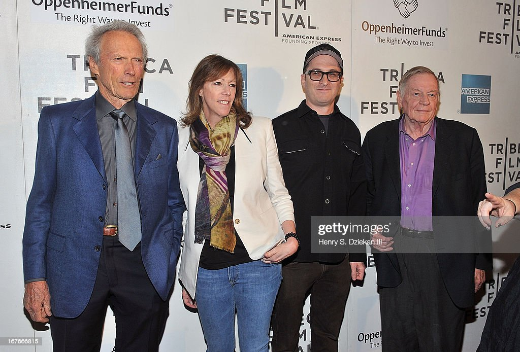 Actor Clint Eastwood, Jane Rosenthal, Darren Aronofsky and Richard Schickel attend the Tribeca Talks: Director's Series during the 2013 Tribeca Film Festival at BMCC Tribeca PAC on April 27, 2013 in New York City.