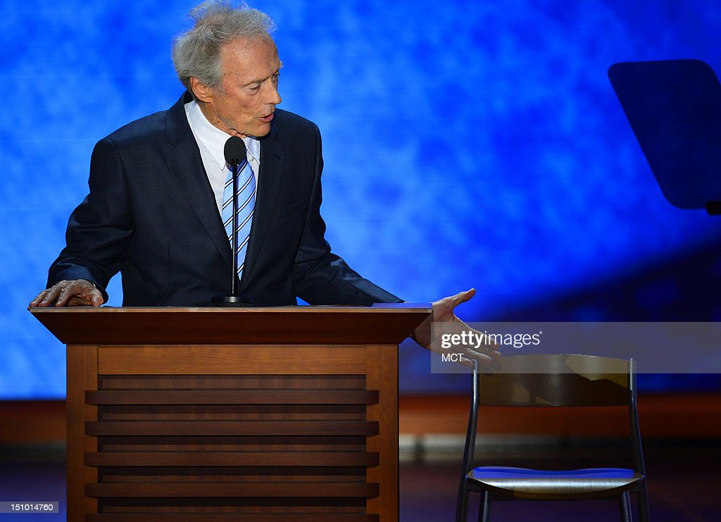 Actor Clint Eastwood speaks an empty chair representing President Barack Obama at the Republican National Convention at the 2012 Republican National...