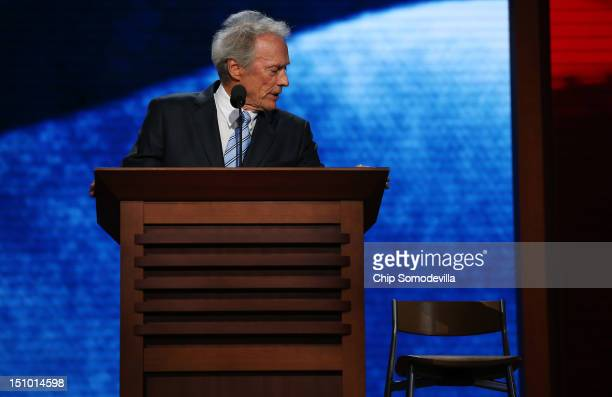Actor Clint Eastwood speaks during the final day of the Republican National Convention at the Tampa Bay Times Forum on August 30 2012 in Tampa...