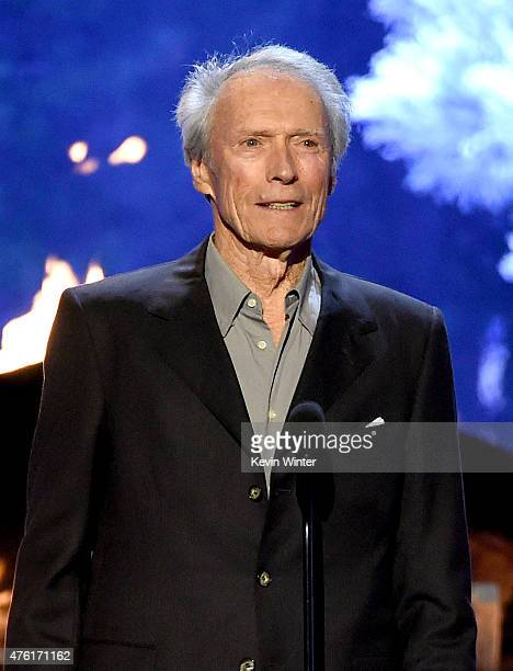 Actor Clint Eastwood speaks onstage during Spike TV's Guys Choice 2015 at Sony Pictures Studios on June 6 2015 in Culver City California