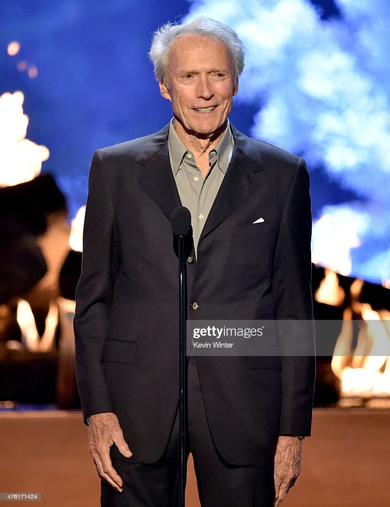 Actor <a gi-track='captionPersonalityLinkClicked' href=/galleries/search?phrase=Clint+Eastwood&family=editorial&specificpeople=201795 ng-click='$event.stopPropagation()'>Clint Eastwood</a> speaks onstage during Spike TV's Guys Choice 2015 at Sony Pictures Studios on June 6, 2015 in Culver City, California.
