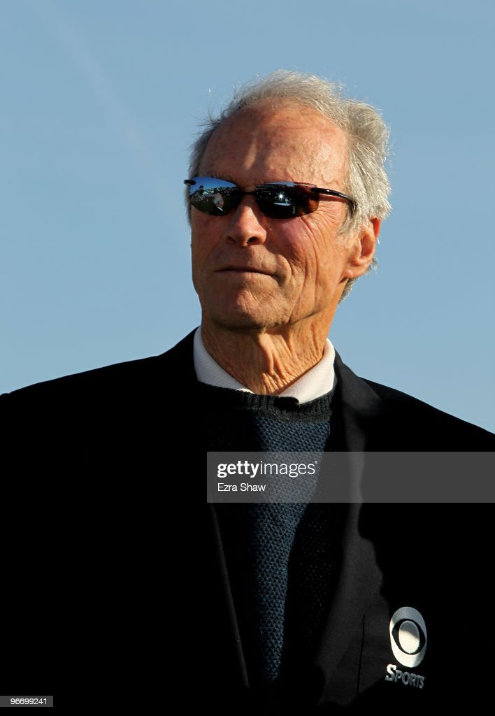 Actor Clint Eastwood waits for the trophy presentation following the final round of the ATT Pebble Beach National ProAm at Pebble Beach Golf Links on...