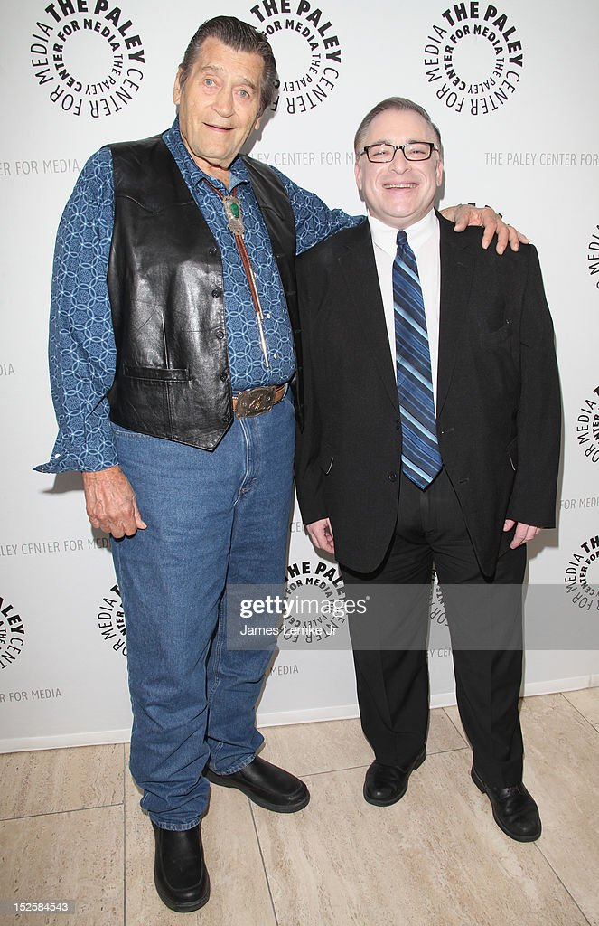 Actor Clint Walker and SVP of Warner Bros. Digital Distribution Geoge Feltenstein attend retro TV action-adventure-thon at The Paley Center for media on September 22, 2012 in Beverly Hills, California.