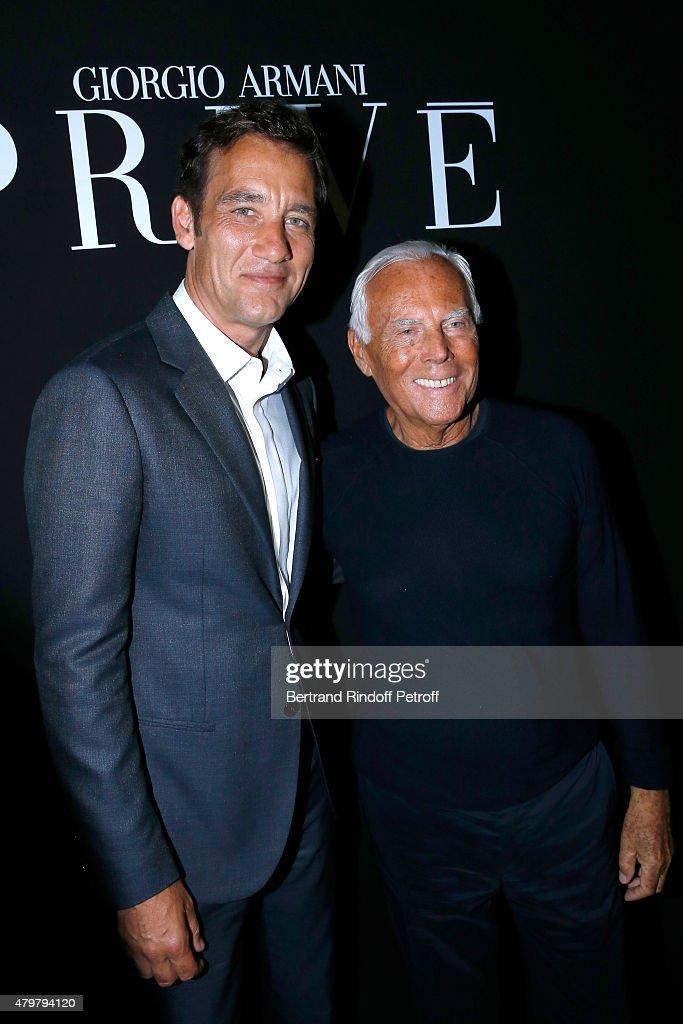 Actor Clive Owen and Giorgio Armani pose Backstage after the Giorgio Armani Prive show as part of Paris Fashion Week HauteCouture Fall/Winter...