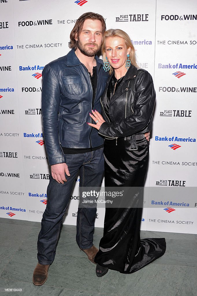 Actor Clive Standen and Francesca Standen attend Magnolia Pictures And Participant Media With The Cinema Society Present A Screening Of 'A Place At The Table' at MOMA - Celeste Bartos Theater on February 27, 2013 in New York City.