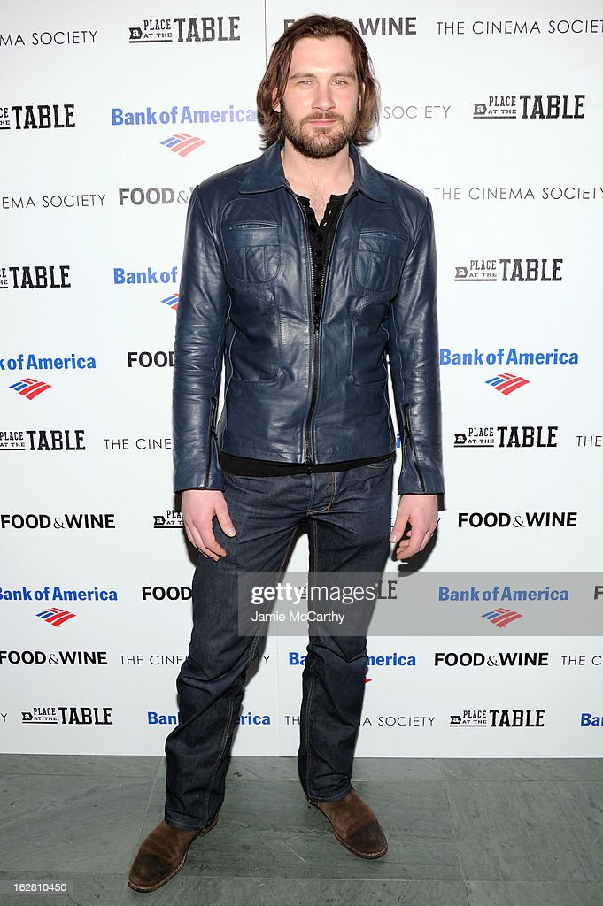 Actor Clive Standen attends Magnolia Pictures And Participant Media With The Cinema Society Present A Screening Of 'A Place At The Table' at MOMA - Celeste Bartos Theater on February 27, 2013 in New York City.
