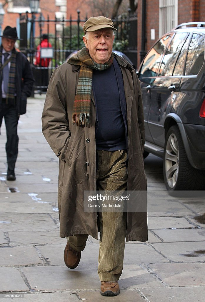 Actor <a gi-track='captionPersonalityLinkClicked' href=/galleries/search?phrase=Clive+Swift+-+Actor&family=editorial&specificpeople=4754047 ng-click='$event.stopPropagation()'>Clive Swift</a> attends the funeral of actor Roger Lloyd-Pack at St Paul's Church on February 13, 2014 in London, England.