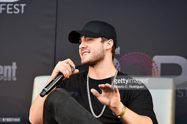 Actor Cody Christian speaks onstage during the 'Teen Wolf' panel at Entertainment Weekly's PopFest at The Reef on October 30 2016 in Los Angeles...